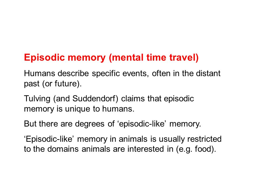 Episodic memory (mental time travel) Humans describe specific events, often in the distant past (or future).