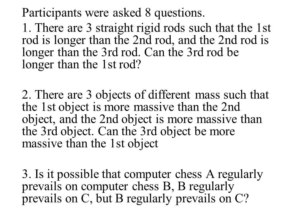 Participants were asked 8 questions. 1.