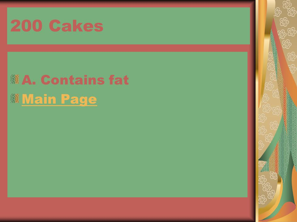 200 Cakes A. Contains fat Main Page
