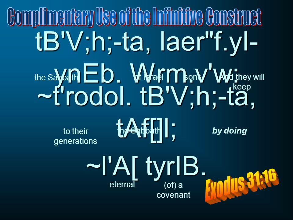 tB V;h;-ta, laer f.yI- ynEb. Wrm.v w: ~t rodol. tB V;h;-ta, tAf[]l; ~l A[ tyrIB.