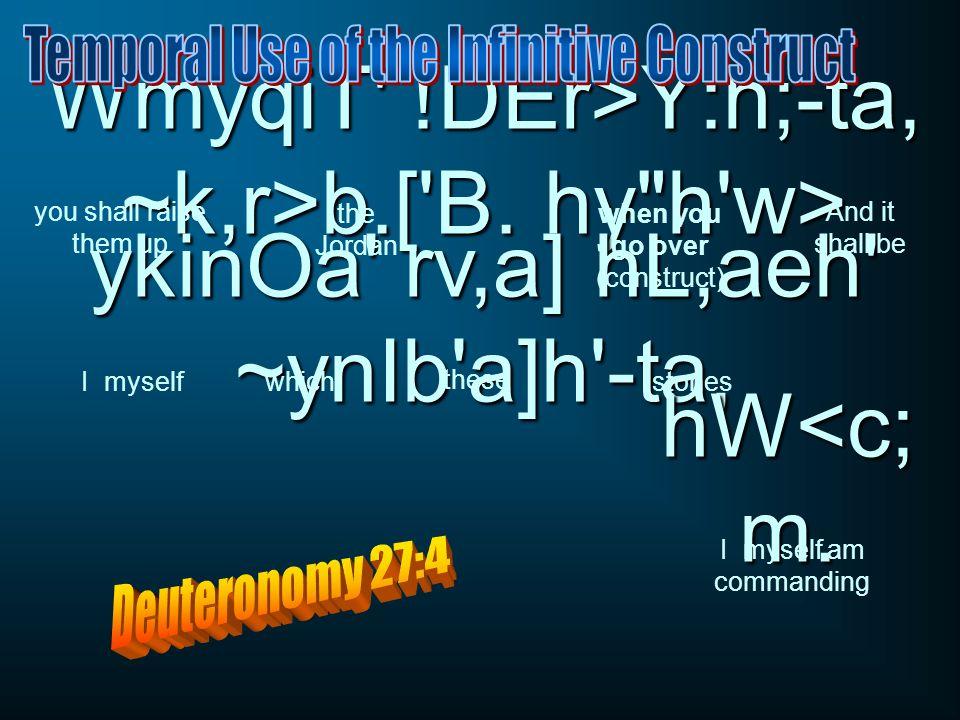 WmyqiT !DEr>Y:h;-ta, ~k,r>b.[ B. hy h w> ykinOa rv,a] hL,aeh ~ynIb a]h -ta, hW<c; m.
