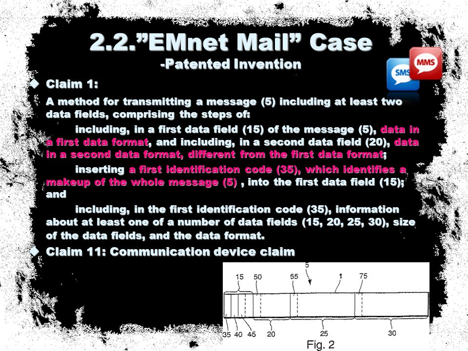  Claim 1: A method for transmitting a message (5) including at least two data fields, comprising the steps of: including, in a first data field (15) of the message (5), data in a first data format, and including, in a second data field (20), data in a second data format, different from the first data format; inserting a first identification code (35), which identifies a makeup of the whole message (5), into the first data field (15); and including, in the first identification code (35), information about at least one of a number of data fields (15, 20, 25, 30), size of the data fields, and the data format.