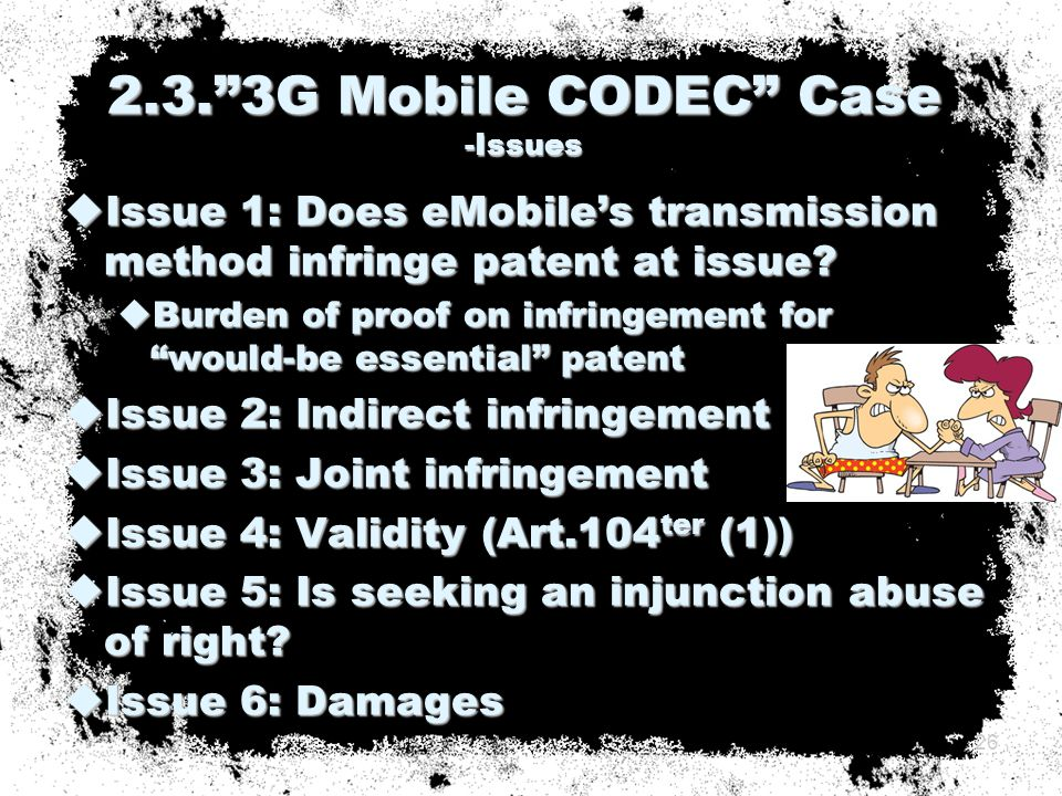  Issue 1: Does eMobile's transmission method infringe patent at issue.