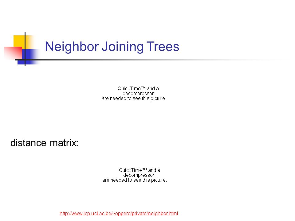 Neighbor Joining Trees http://www.icp.ucl.ac.be/~opperd/private/neighbor.html distance matrix: