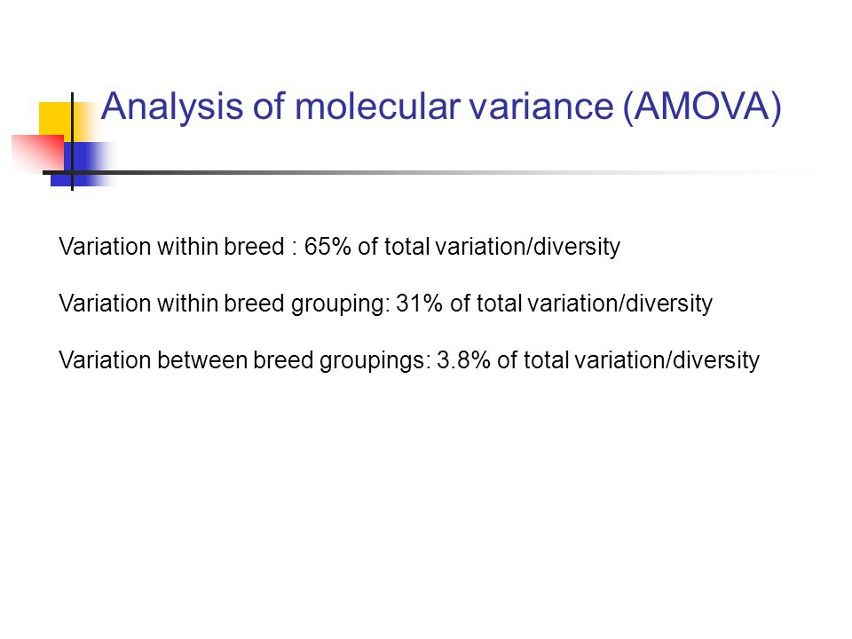 Variation within breed : 65% of total variation/diversity Variation within breed grouping: 31% of total variation/diversity Variation between breed gr