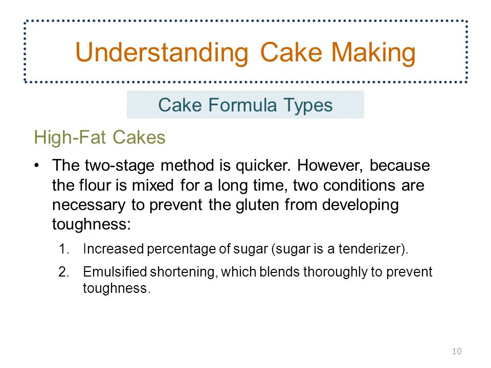 Understanding Cake Making High-Fat Cakes The two-stage method is quicker. However, because the flour is mixed for a long time, two conditions are nece