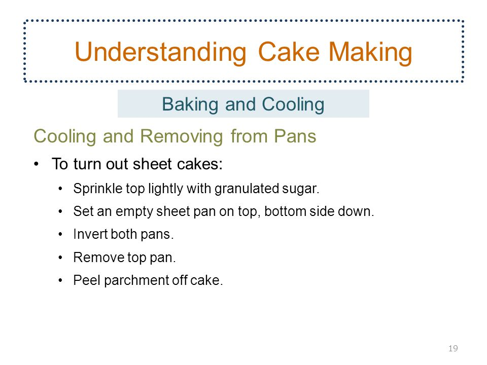Understanding Cake Making Cooling and Removing from Pans To turn out sheet cakes: Sprinkle top lightly with granulated sugar. Set an empty sheet pan o