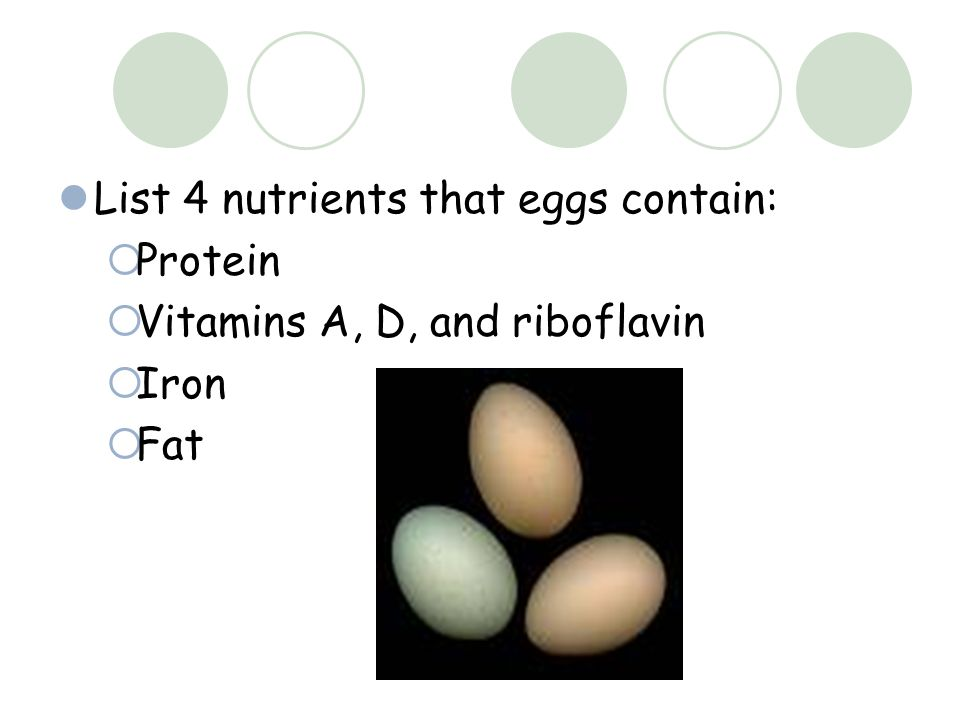 List 4 nutrients that eggs contain:  Protein  Vitamins A, D, and riboflavin  Iron  Fat