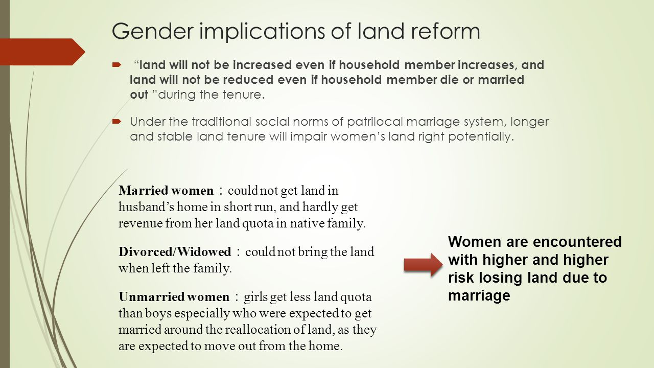 Gender implications of land reform  land will not be increased even if household member increases, and land will not be reduced even if household member die or married out during the tenure.