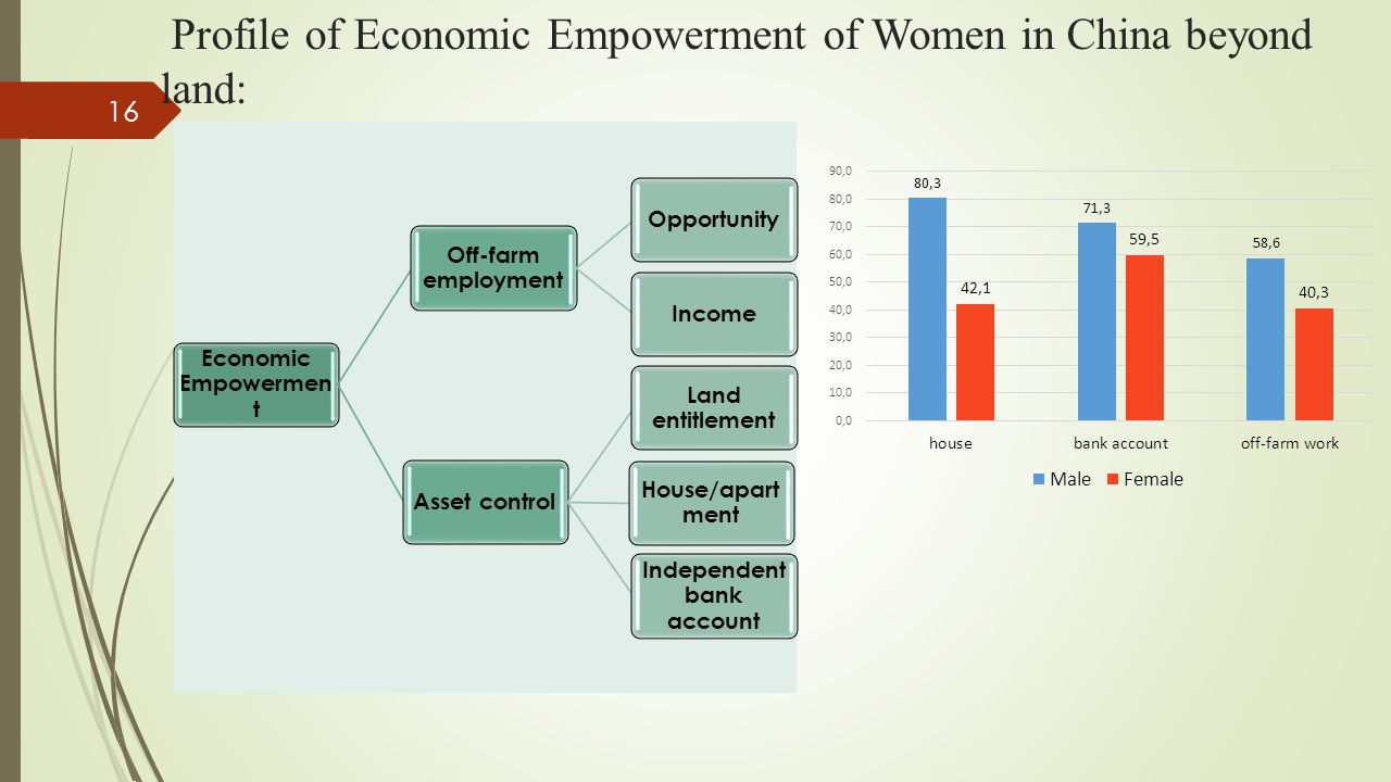 Profile of Economic Empowerment of Women in China beyond land: Economic Empowermen t Off-farm employment OpportunityIncomeAsset control Land entitlement House/apart ment Independent bank account 16