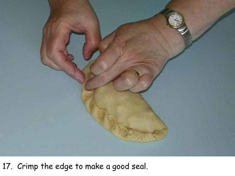 17. Crimp the edge to make a good seal.