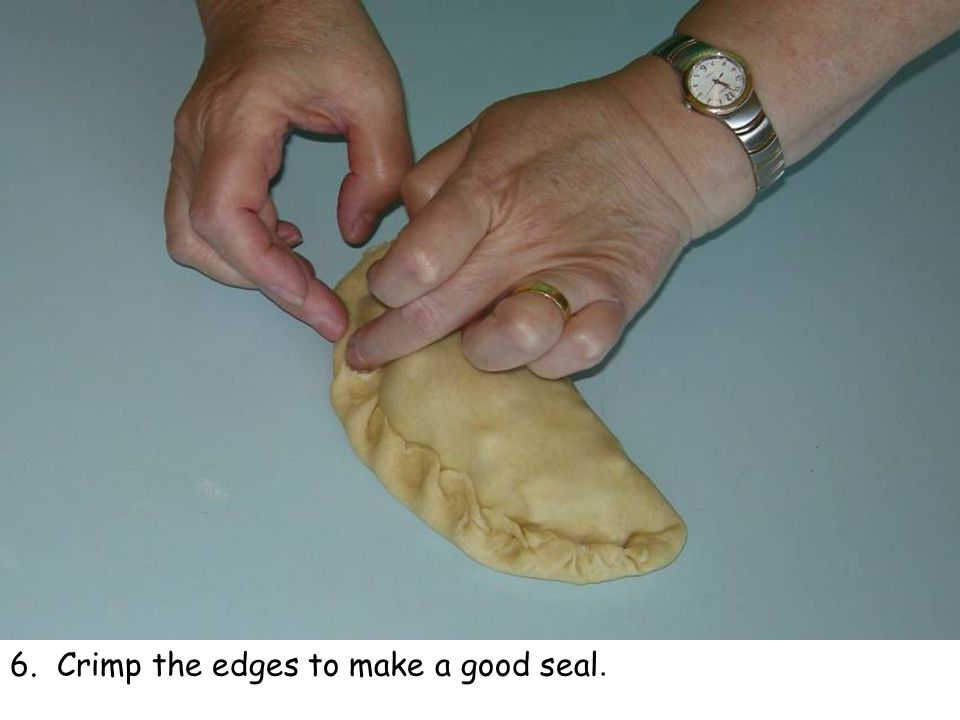 6. Crimp the edges to make a good seal.