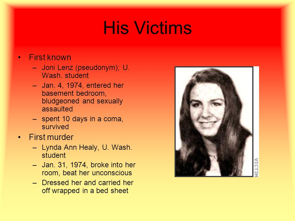 His Victims First known –Joni Lenz (pseudonym); U.