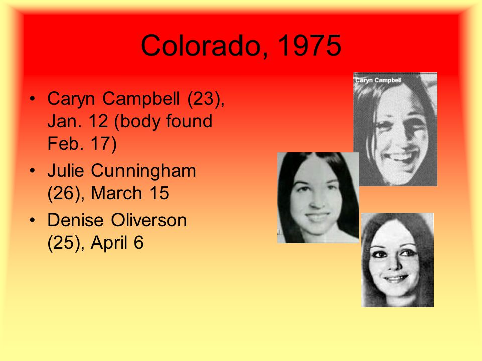 Colorado, 1975 Caryn Campbell (23), Jan. 12 (body found Feb.