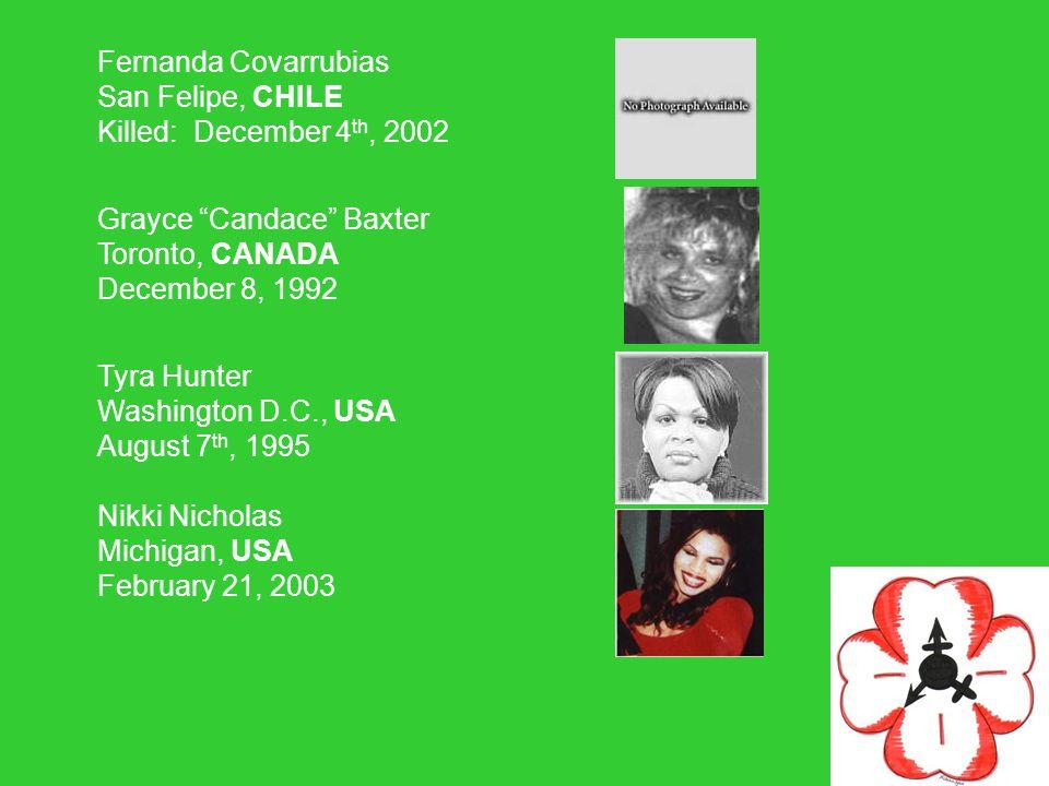 Fernanda Covarrubias San Felipe, CHILE Killed: December 4 th, 2002 Grayce Candace Baxter Toronto, CANADA December 8, 1992 Tyra Hunter Washington D.C., USA August 7 th, 1995 Nikki Nicholas Michigan, USA February 21, 2003