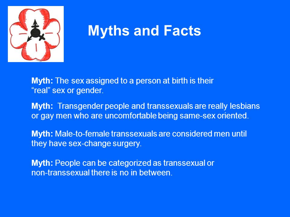 "Myths and Facts Myth: The sex assigned to a person at birth is their ""real"" sex or gender. Myth: Transgender people and transsexuals are really lesbia"