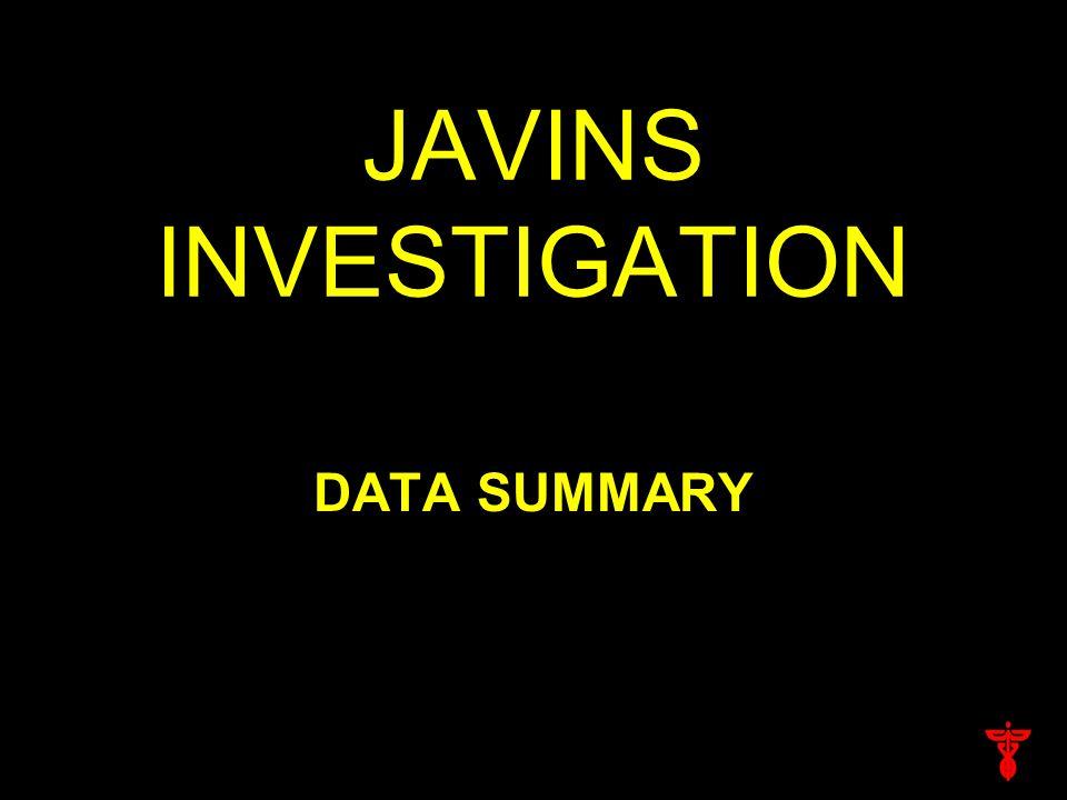 JAVINS INVESTIGATION DATA SUMMARY
