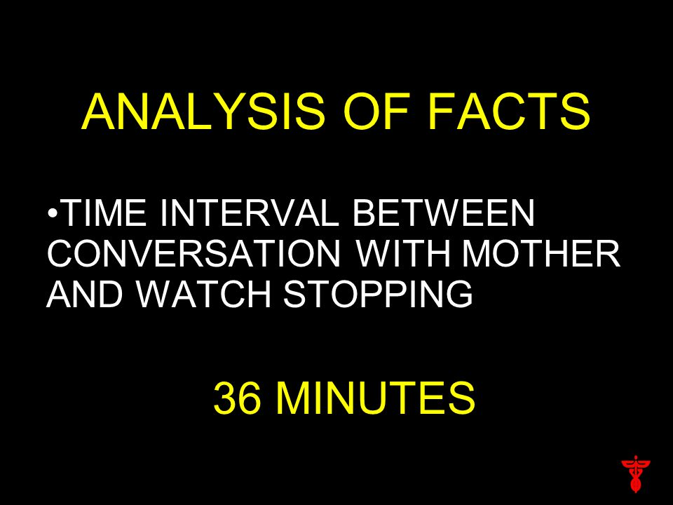 ANALYSIS OF FACTS TIME INTERVAL BETWEEN CONVERSATION WITH MOTHER AND WATCH STOPPING 36 MINUTES