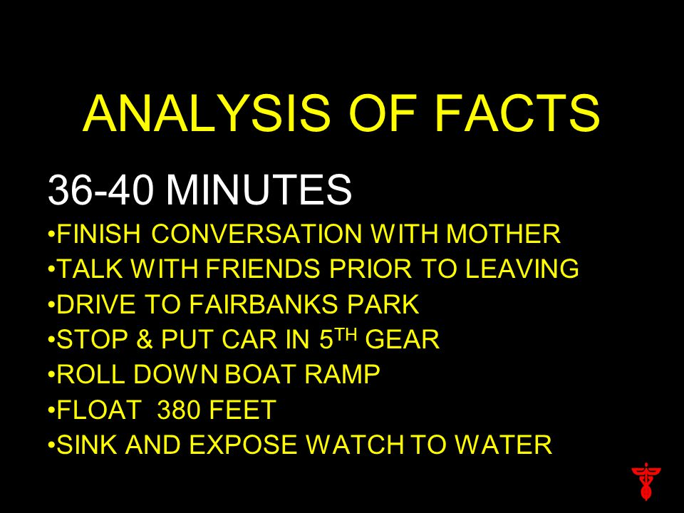 ANALYSIS OF FACTS 36-40 MINUTES FINISH CONVERSATION WITH MOTHER TALK WITH FRIENDS PRIOR TO LEAVING DRIVE TO FAIRBANKS PARK STOP & PUT CAR IN 5 TH GEAR ROLL DOWN BOAT RAMP FLOAT 380 FEET SINK AND EXPOSE WATCH TO WATER