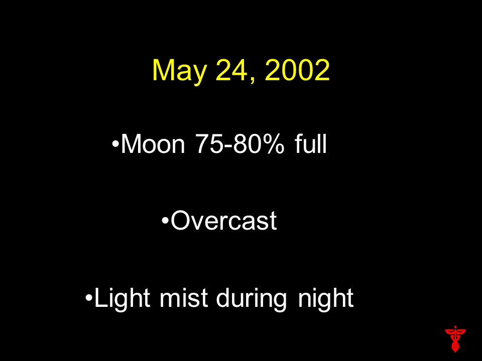 May 24, 2002 Moon 75-80% full Overcast Light mist during night
