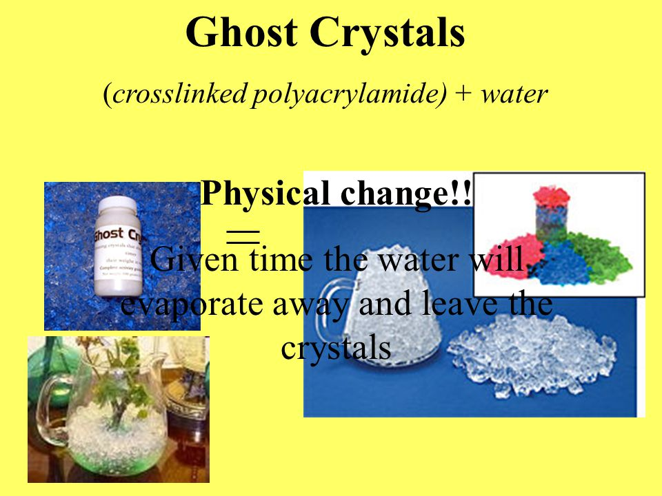Ghost Crystals (crosslinked polyacrylamide) + water Physical change!.