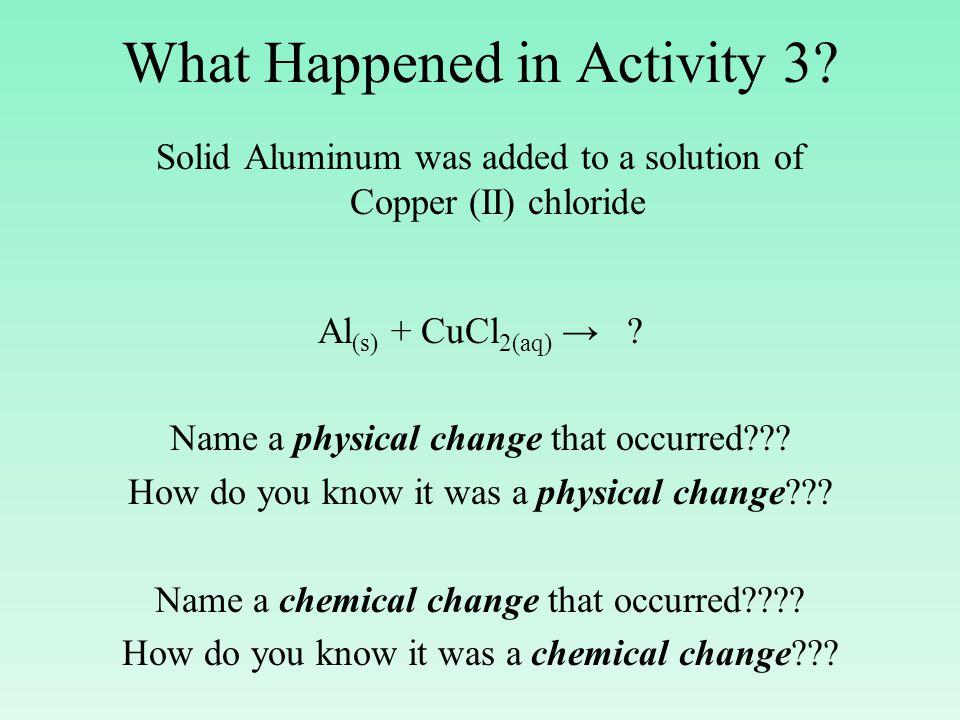 Activity Series of Metals Li K Ba Sr Ca Na Mg Al Mn Zn Al (s) + CuCl 2(aq) → AlCl 3(aq) + Cu (s) Fe Cd Co Ni Sn Pb H Cu Ag Hg Au Decreasing Activity