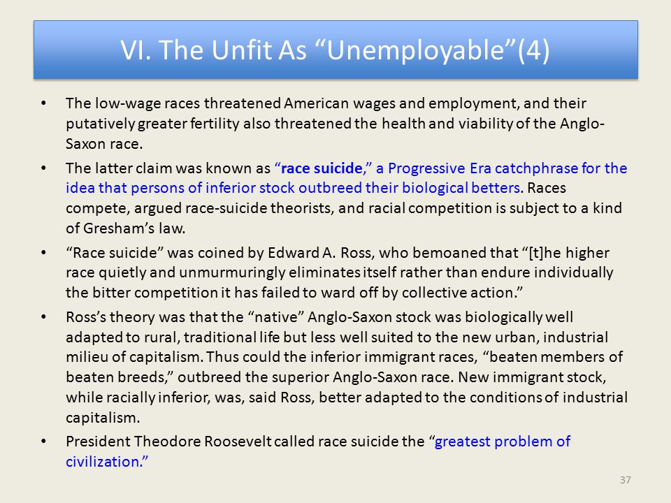"VI. The Unfit As ""Unemployable""(4) The low-wage races threatened American wages and employment, and their putatively greater fertility also threatened"