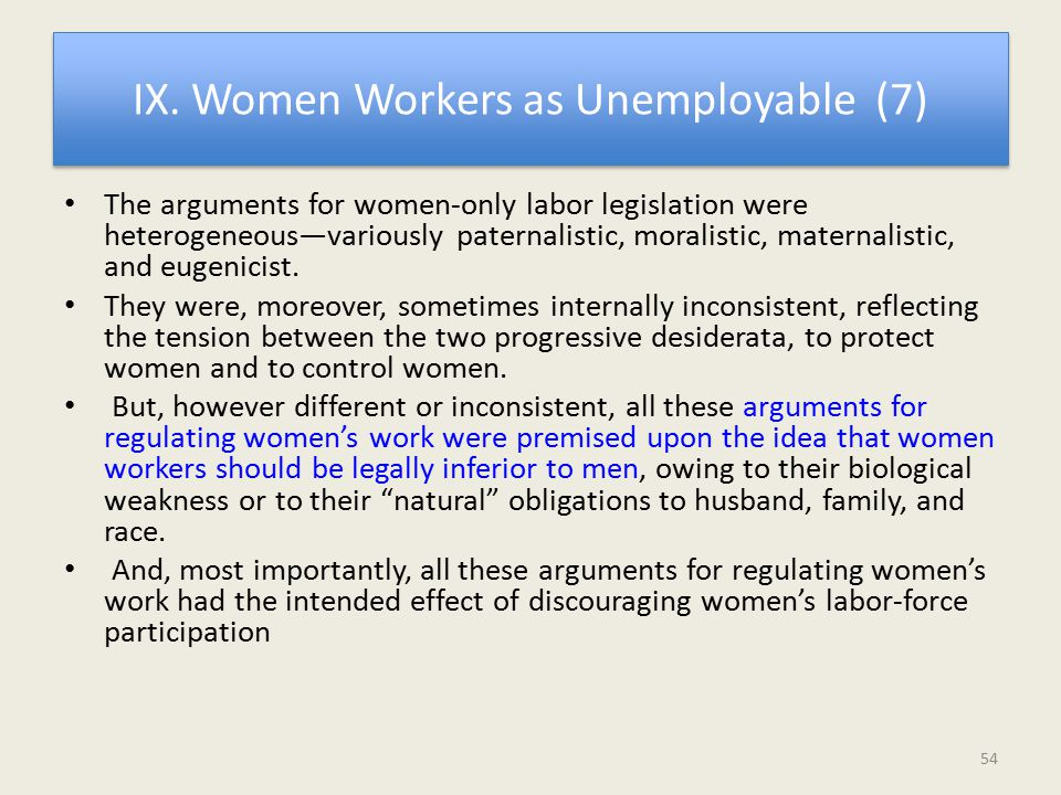 IX. Women Workers as Unemployable (7) The arguments for women-only labor legislation were heterogeneous—variously paternalistic, moralistic, maternali