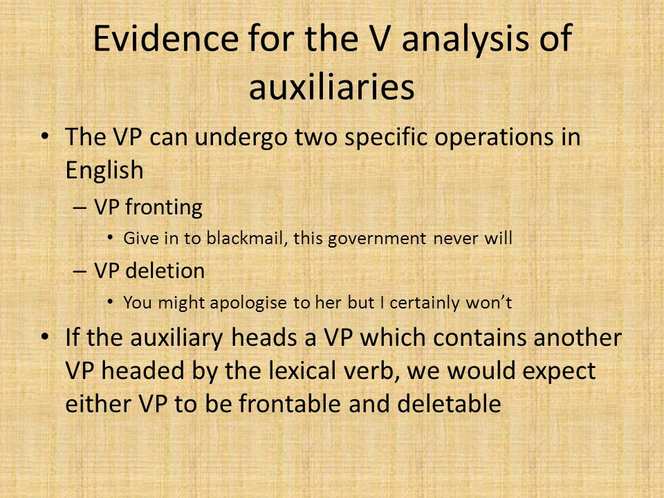 Evidence for the V analysis of auxiliaries The VP can undergo two specific operations in English – VP fronting Give in to blackmail, this government never will – VP deletion You might apologise to her but I certainly won't If the auxiliary heads a VP which contains another VP headed by the lexical verb, we would expect either VP to be frontable and deletable