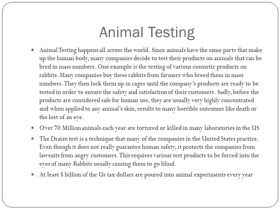 Animal Testing Animal Testing happens all across the world.