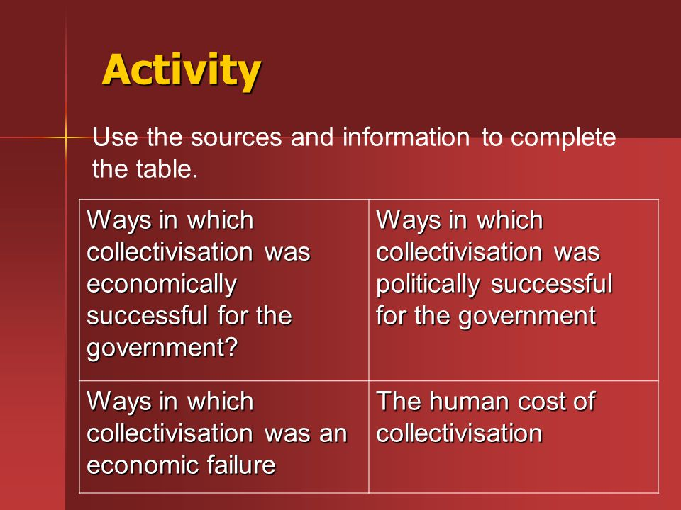 Activity Ways in which collectivisation was economically successful for the government? Ways in which collectivisation was politically successful for
