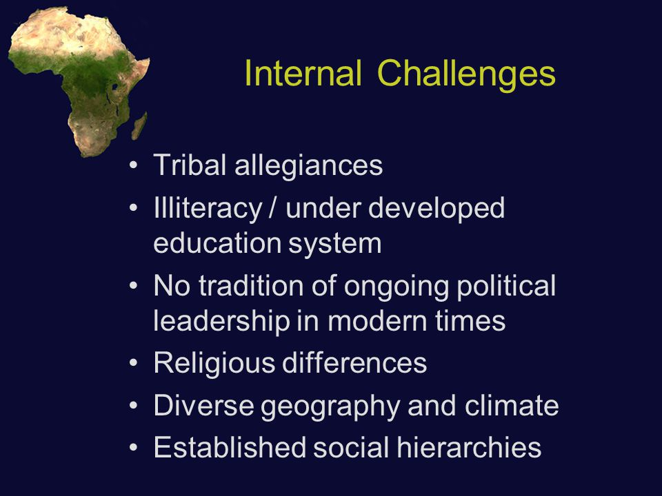 Internal Challenges Tribal allegiances Illiteracy / under developed education system No tradition of ongoing political leadership in modern times Religious differences Diverse geography and climate Established social hierarchies