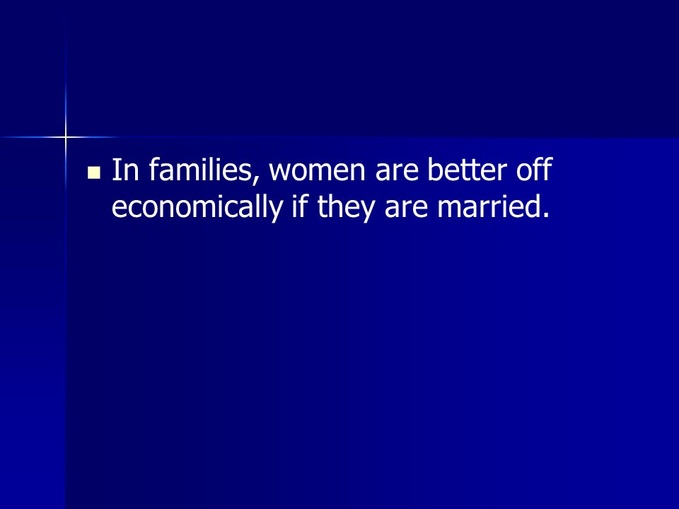 In families, women are better off economically if they are married.