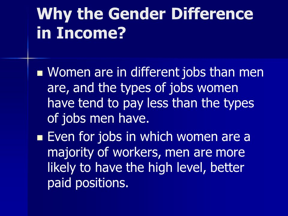 Why the Gender Difference in Income.