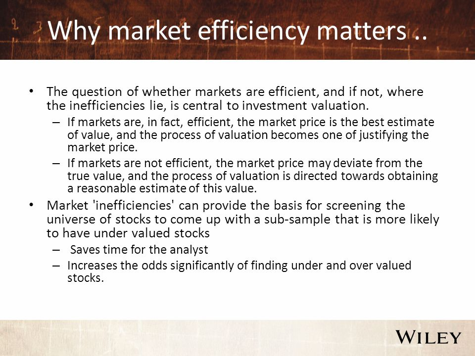 Why market efficiency matters..