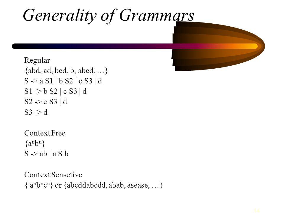 14 Generality of Grammars Regular {abd, ad, bcd, b, abcd, … } S -> a S1 | b S2 | c S3 | d S1 -> b S2 | c S3 | d S2 -> c S3 | d S3 -> d Context Free {a n b n } S -> ab | a S b Context Sensetive { a n b n c n } or {abcddabcdd, abab, asease, … }