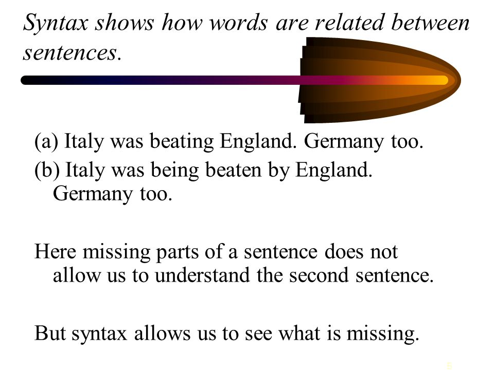 5 Syntax shows how words are related between sentences.