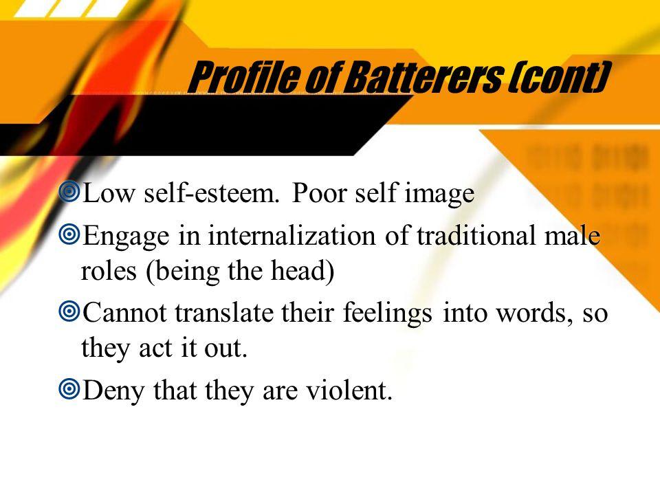 Profile of Batterers (cont)  Low self-esteem.