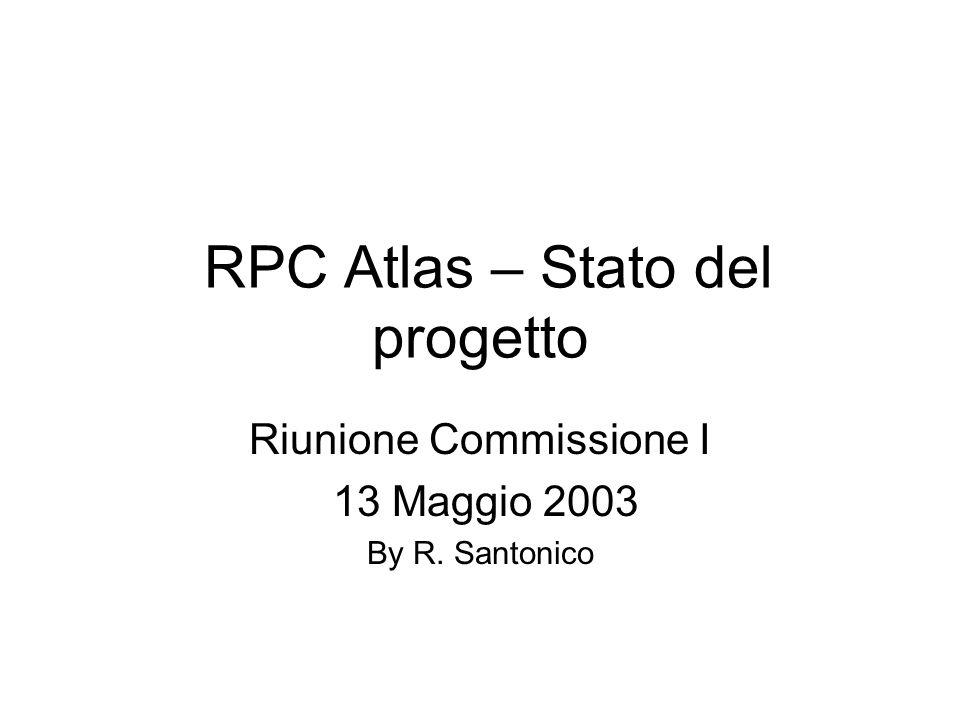 RPC Atlas – Stato del progetto Riunione Commissione I 13 Maggio 2003 By R. Santonico