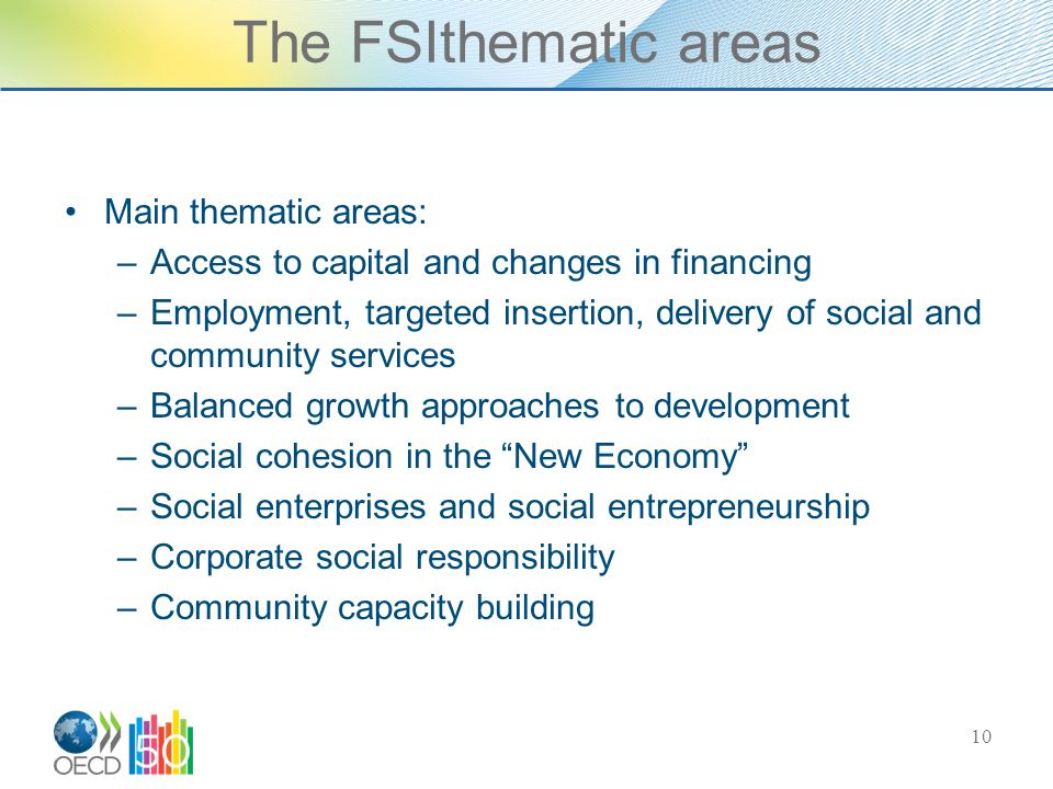 The FSIthematic areas Main thematic areas: –Access to capital and changes in financing –Employment, targeted insertion, delivery of social and community services –Balanced growth approaches to development –Social cohesion in the New Economy –Social enterprises and social entrepreneurship –Corporate social responsibility –Community capacity building 10