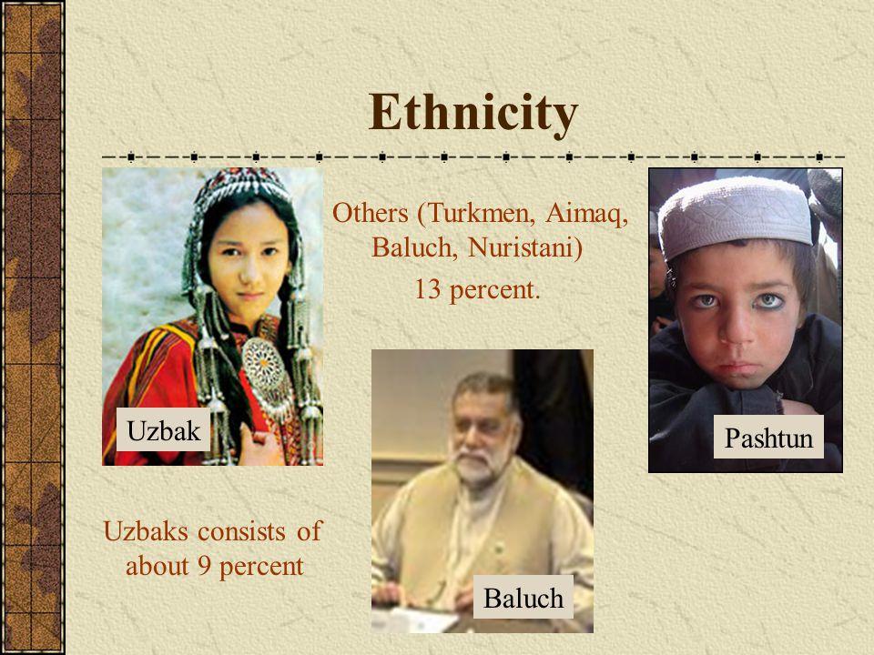 Ethnicity Uzbak Baluch Pashtun Uzbaks consists of about 9 percent Others (Turkmen, Aimaq, Baluch, Nuristani) 13 percent.