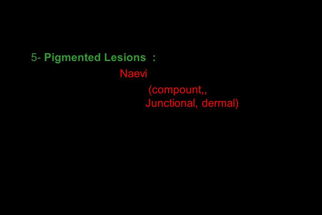5- Pigmented Lesions : - Naevi (compount,, Junctional, dermal)) - Solar Lentigo 1- DERİNİN SELİM TÜMÖRLERİ
