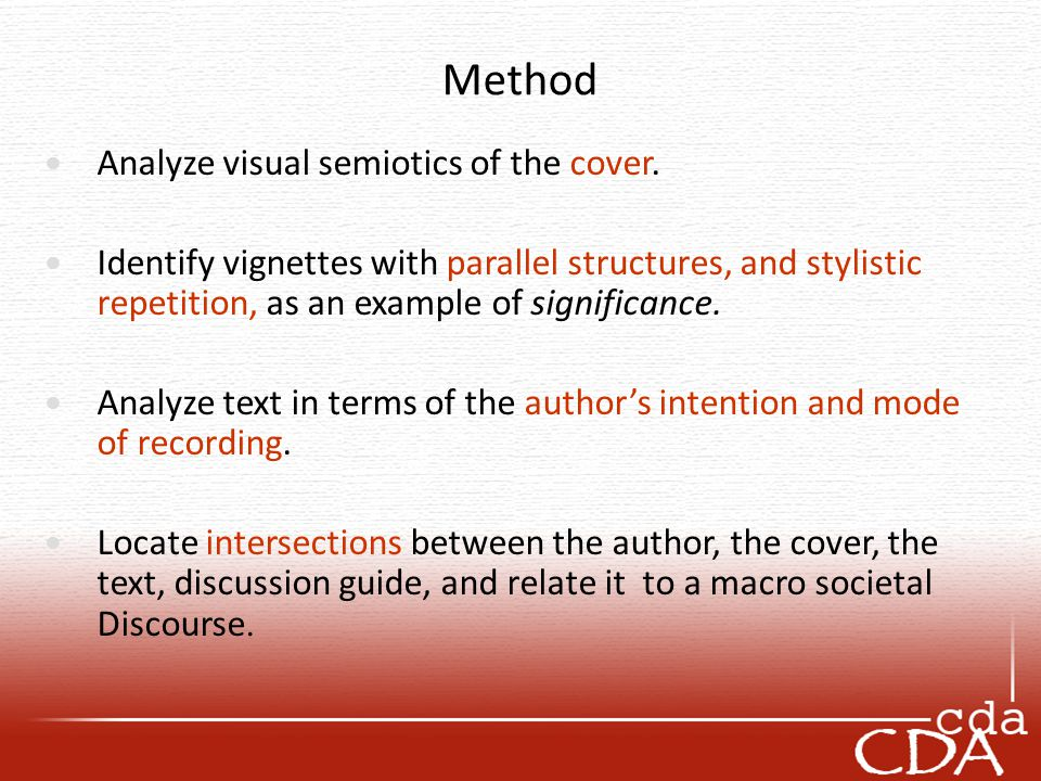 Method Analyze visual semiotics of the cover. Identify vignettes with parallel structures, and stylistic repetition, as an example of significance. An