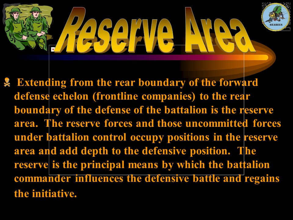   Extending from the rear boundary of the forward defense echelon (frontline companies) to the rear boundary of the defense of the battalion is the
