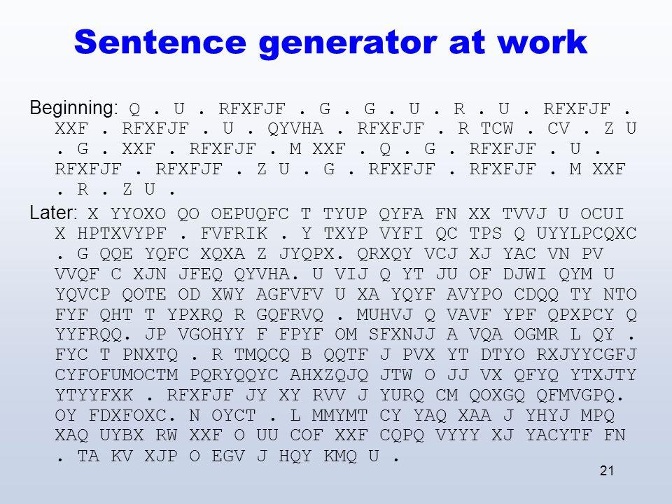 21 Sentence generator at work Beginning: Q. U. RFXFJF.