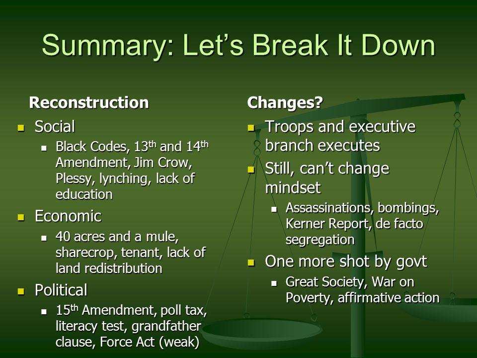 Summary: Let's Break It Down Reconstruction Social Black Codes, 13 th and 14 th Amendment, Jim Crow, Plessy, lynching, lack of education Economic 40 a