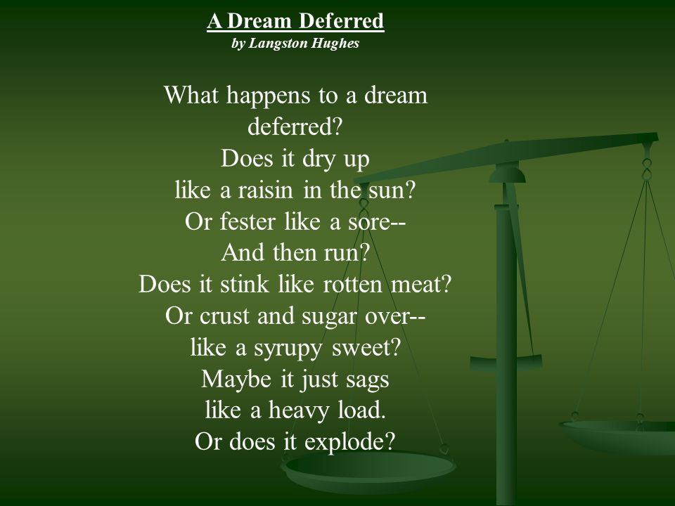 A Dream Deferred by Langston Hughes What happens to a dream deferred? Does it dry up like a raisin in the sun? Or fester like a sore-- And then run? D