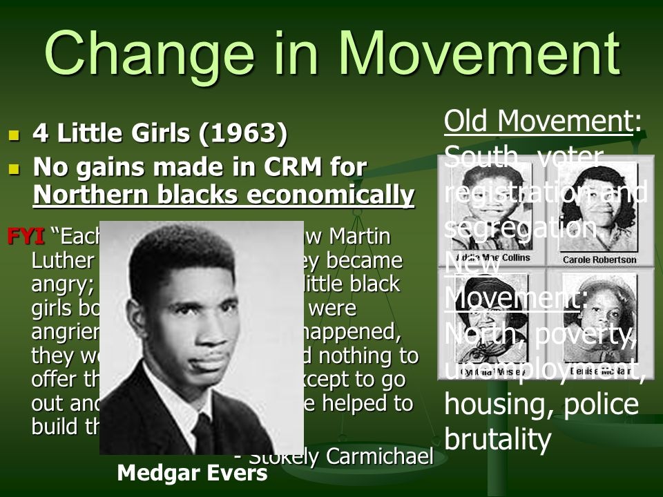 Change in Movement 4 Little Girls (1963) 4 Little Girls (1963) No gains made in CRM for Northern blacks economically No gains made in CRM for Northern