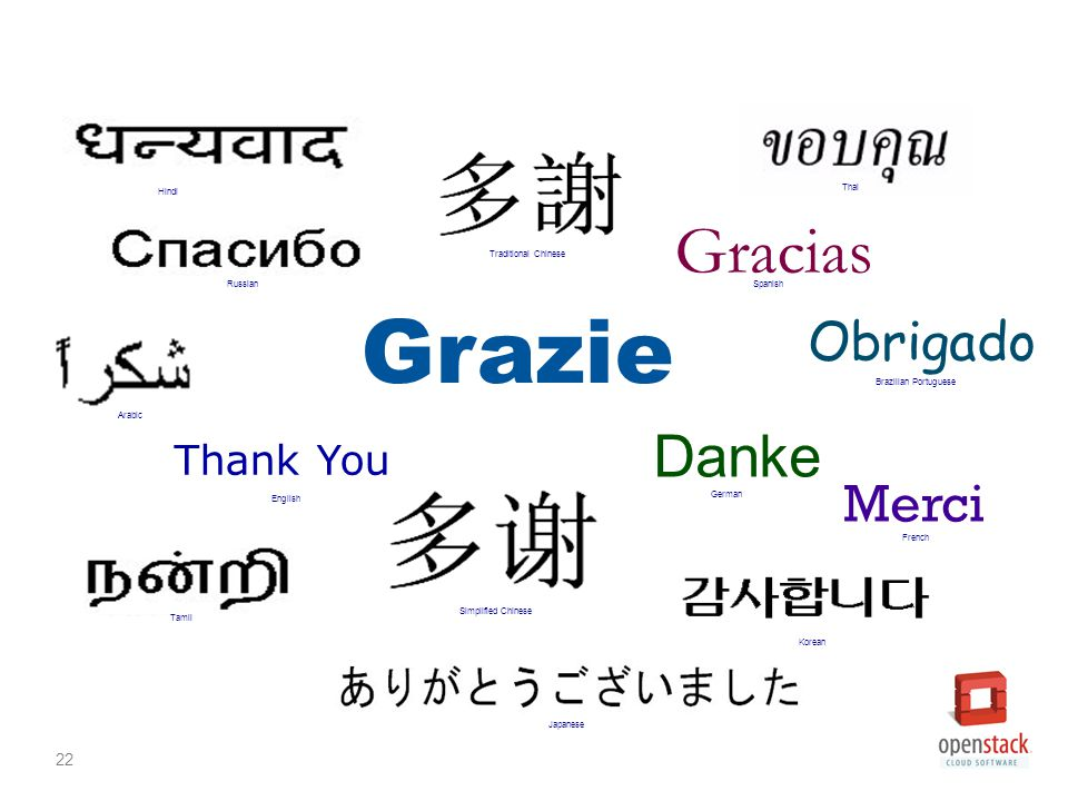 22 Grazie Merci Thank You Gracias Obrigado Danke Japanese French Russian German English Spanish Brazilian Portuguese Arabic Traditional Chinese Simplified Chinese Hindi Tamil Thai Korean