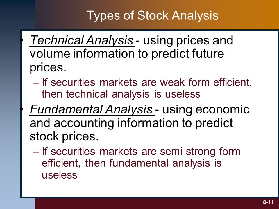 8-11 Technical Analysis - using prices and volume information to predict future prices. –If securities markets are weak form efficient, then technical
